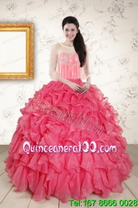 Strapless Beading and Ruffles Unique Quinceanera Dresses in Hot Pink