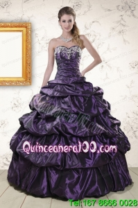 Sweetheart Purple Traditional Quinceanera Dresses with Appliques for 2015