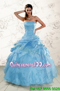 Traditional Aqua Blue Quinceanera Dresses with Appliques