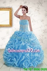 Traditional Strapless Beading and Pick Ups 2015 Quinceanera Dresses in Baby Blue