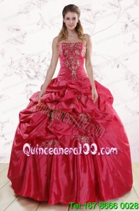 Traditional Strapless Hot Pink Quinceanera Dresses with Embroidery