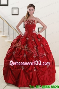 Traditional Strapless Wine Red Appliques Quinceanera Dresses for 2015
