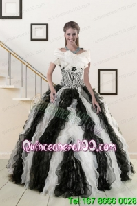 2015 Trendy Black and White Quinceanera Dresses with Zebra and Ruffles