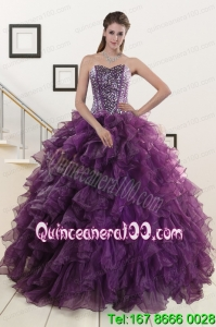 2015 Unique Purple Quinceanera Dresses with Beading and Ruffles