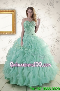 2015 Unique Sweetheart Beading Quinceanera Dresses in Apple Green