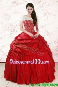 2015 Unique Sweetheart Beading Quinceanera Dresses in Red