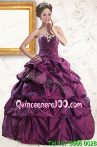 2015 Unique Sweetheart Purple Quinceanera Dresses with Appliques and Pick Up