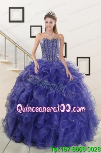 2015 Unique Sweetheart Purple Quinceanera Dresses with Beading and Ruffles