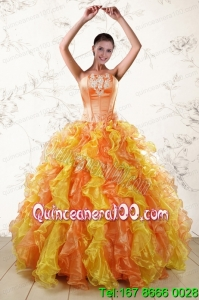 Unique 2015 Quinceanera Dresses with Appliques and Ruffles