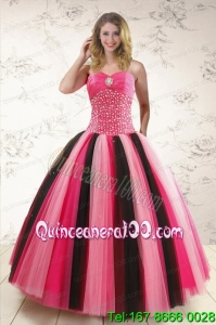 Unique Multi-color Quinceanera Dresses with Beading for 2015