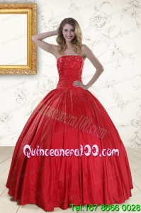 Unique Red Strapless Sweet 16 Dresses with Beading