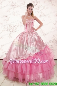 Unique Sweetheart Pink Quinceanera Dresses with Embroidery