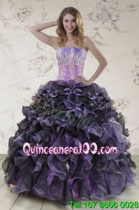 Unique Multi Color Quinceanera Dresses with Beading and Ruffles
