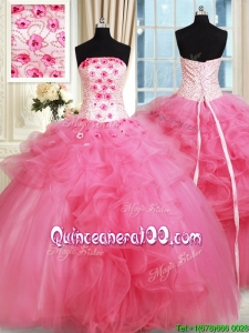 Affordable Beaded Strapless Hot Pink Quinceanera Dress with Appliques and Ruffles