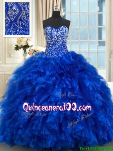 Best Selling Ruffled Beaded Bodice Royal Blue Quinceanera Dress with Brush Train