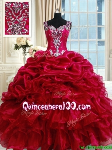 Discount See Through Back Straps Fuchsia Zipper Up Quinceanera Dress with Beading