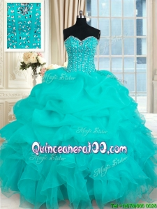 Elegant Visible Boning Beaded Bodice and Ruffled Turquoise Organza Quinceanera Gown
