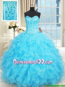 Exclusive Visible Boning Ruffled and Beaded Aqua Blue Quinceanera Dress in Organza