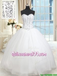 Fashionable Visible Boning Puffy Skirt Beaded Bodice Quinceanera Dress in White