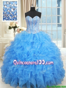 Gorgeous Visible Boning Baby Blue Quinceanera Dress with Ruffles and Beaded Bodice