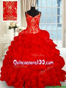 Lovely Spaghetti Straps Brush Train Red Quinceanera Dress with Ruffles and Bubbles