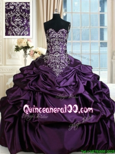 Modern Beaded Taffeta Purple Quinceanera Dress with Embroidery and Bubbles