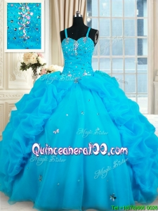 Modern Bubble and Beaded Straps Organza Quinceanera Dress in Baby Blue