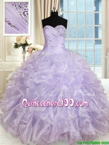 Modest Beaded and Ruffled Sweetheart Lavender Quinceanera Dress in Organza