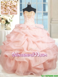 New Arrivals Visible Boning Baby Pink Quinceanera Dress with Beading and Pick Ups