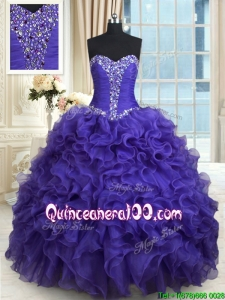 New Style Organza Sweetheart Purple Quinceanera Dress with Ruffles and Beading