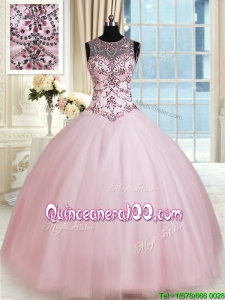 New Style See Through Scoop Tulle Baby Pink Quinceanera Dress with Beading