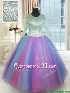 Perfect See Through Scoop Long Sleeves Rainbow Colored Quinceanera Dress in Tulle