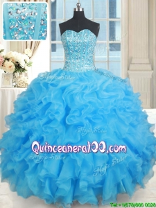 Popular Visible Boning Organza Baby Blue Quinceanera Dress with Ruffles and Beading