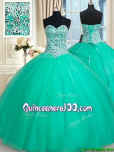 Pretty Big Puffy Sweetheart Beaded Bodice Turquoise Quinceanera Dress in Tulle