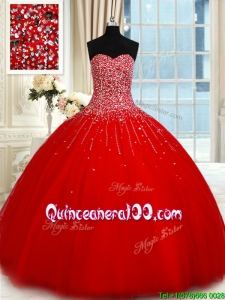 Romantic Big Puffy Tulle Beaded Bodice Red Quinceanera Dress with Sweetheart