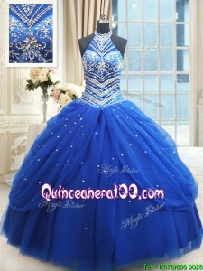 Top Seller Beaded Decorated Halter Top Royal Blue Quinceanera Dress in Tulle