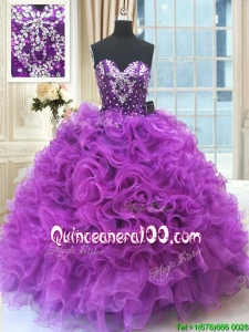 Discount Sweetheart Ruffled and Beaded Organza Quinceanera Dress in Eggplant Purple