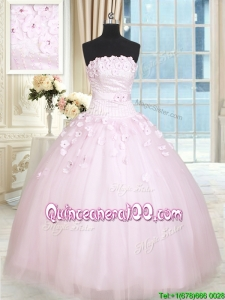 Elegant Strapless Baby Pink Tulle Quinceanera Dress with Appliques and Beading