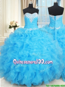 Exquisite Floor Length Baby Blue Quinceanera Dress with Ruffles and Beading
