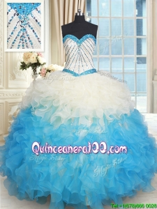 Fashionable Ruffled and Beaded Bodice Quinceanera Dress in Champagne and Blue