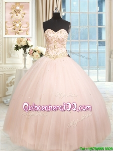 Hot Sale Big Puffy Tulle Beaded Quinceanera Dress in Baby Pink
