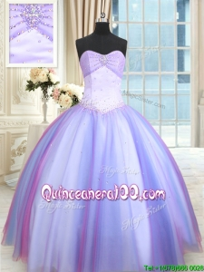 Lovely Puffy Skirt Tulle Rainbow Colored Quinceanera Dress with Beading
