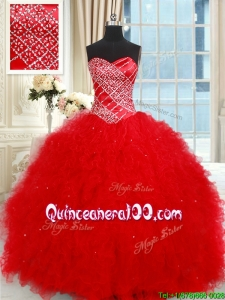 Modest Sweetheart Tulle Red Quinceanera Dress with Ruffles and Beading