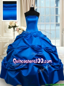 Beautiful Really Puffy Strapless Taffeta Royal Blue Quinceanera Dress with Pick Ups