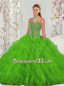2015 Popular Beading and Ruffles Spring Green Sweet 15 Dresses
