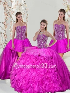 2015 Spring Detachable Hot Pink Sweet 16 Dresses with Beading and Ruffles