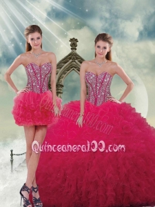 2015 Spring Fashionable Beading and Ruffles Red Sweet 16 Dresses