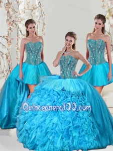 Detachable Aqua Blue Sweet 15 Dresses with Beading and Ruffles for 2015 Spring