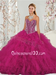 Unique Beading and Ruffles Dresses for Quince in Red for 2015