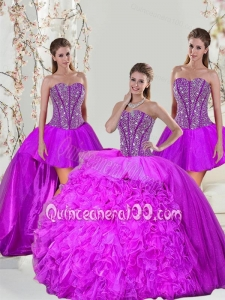 2015 New Arrival Beading and Ruffles Fuchsia Sweet 16 Dresses